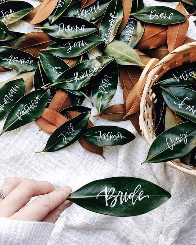 leaf table place name tag